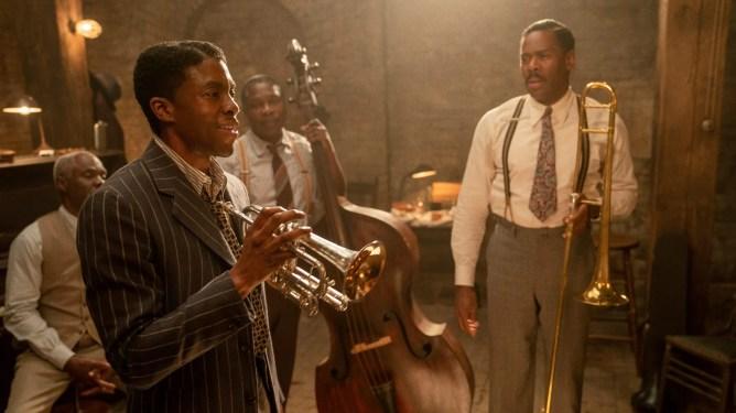 Glynn Turman, Chadwick Boseman, Michael Potts, and Colman Domingo passionately rehearse Jazz music as seen in Ma Rainey's Black Bottom.