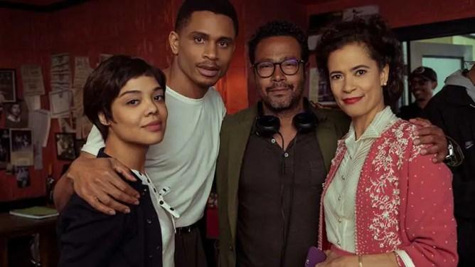 Tessa Thompson, Nnamdi Asomugha, Eugene Ashe, and on the set of Sylvie's Love