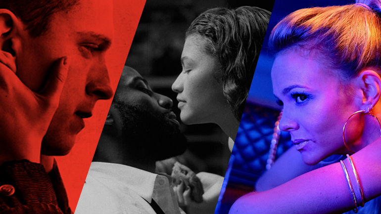 A collage of 2021 Oscar Predicted films Cherry, Malcolm & Marie, and Promising Young Woman.