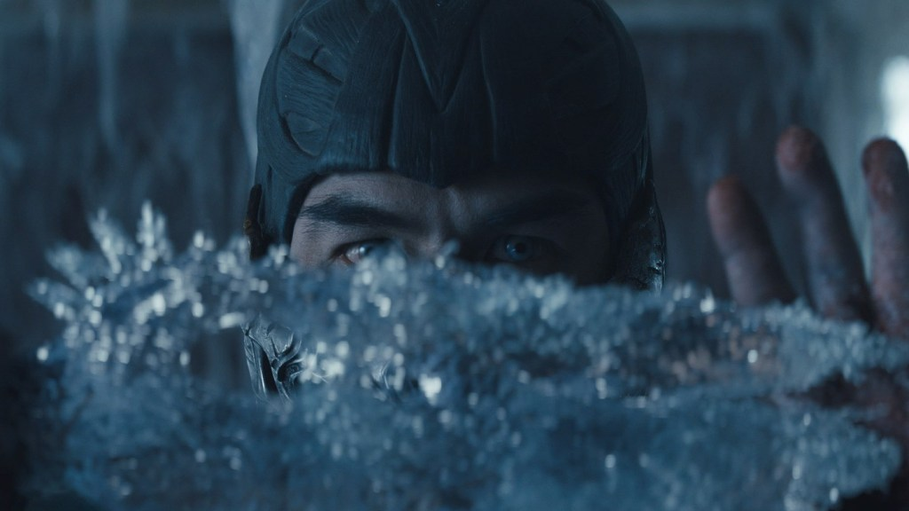 Sub-Zero making an ice blade as seen in Mortal Kombat, a film with a 2021 release date from Warner Bros. and HBO Max.