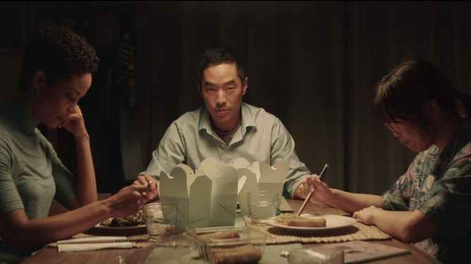 Paulina Lule, Leonardo Nam, & Kannon sharing an awkward meal at the dinner table as seen in Marvelous and the Black Hole.