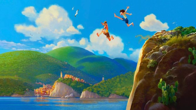 Promotional art of Pixar's Luca, a film scheduled with a 2021 release date from Disney and Pixar.