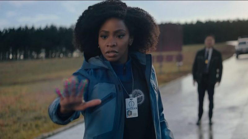 Teyonah Parris as Monica Rambeau on the outskirts of the town of WestView as seen in Episode 4 of WandaVision.