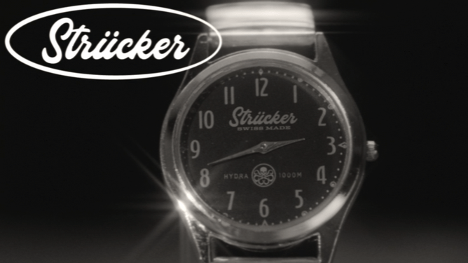 The Strucker watch with Hydra logo as seen in the in-universe commercial in WandaVision.