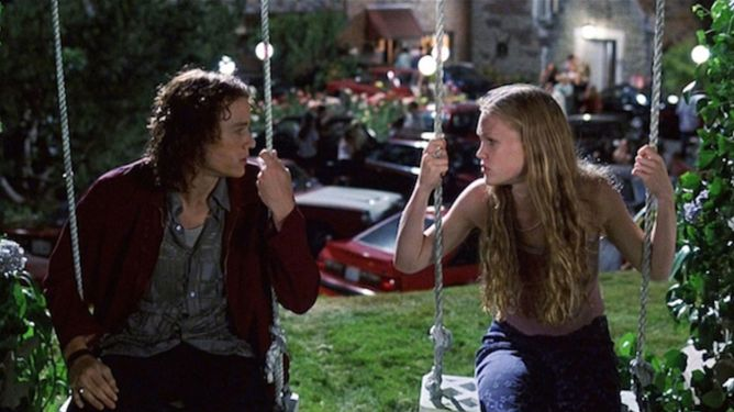 Heath Ledger and Julia Stiles in classic Valentines Day Romantic Comedy 10 Things I Hate About You.