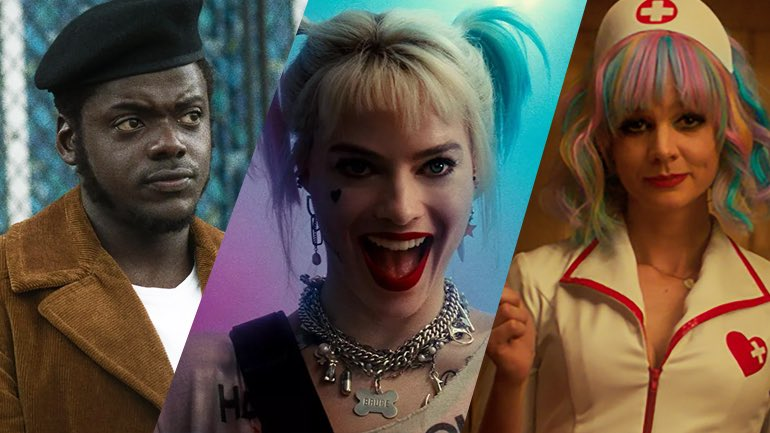 A collage of Judas and the Black Messiah, Birds of Prey, and Promising Young Woman, all films that are included in our Oscar Predictions for February 2021.