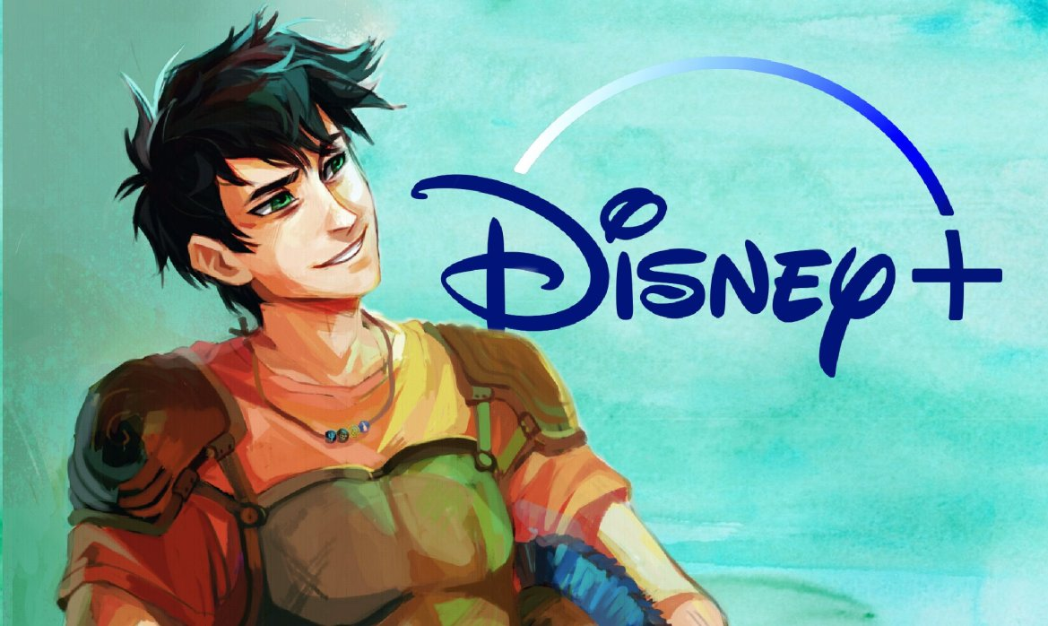 A graphic of Percy Jackson next to the Disney+ logo, the novel series is getting a new live-action adaptation on Disney's streaming service.