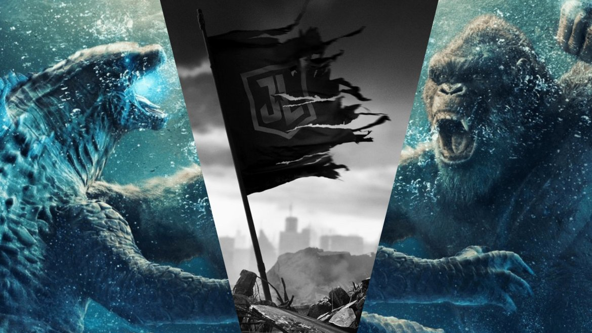 A poster collage for Godzilla vs. Kong and Zack Snyder's Justice League, both coming to HBO Max this March.
