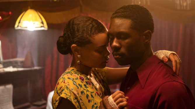 Andra Day and Trevante Rhodes dancing together in The United States Vs. Billie Holiday.