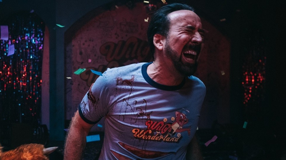 Nicolas Cage beating killer animatronics to death as the Janitor in Willy's Wonderland.