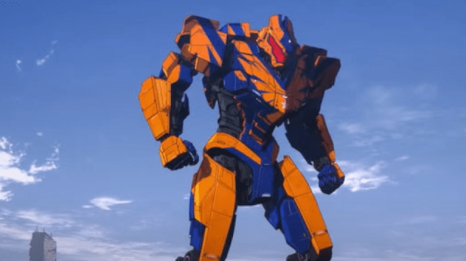 An old giant orange and blue Jaeger as seen in Pacific Rim: The Black.