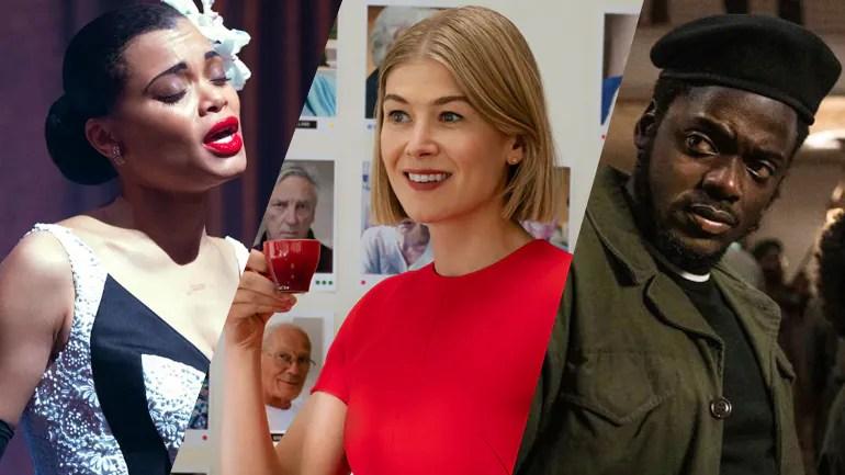 A collage of Golden Globe Winners Andra Day, Rosamund Pike, and Daniel Kaluuya, all now Oscar hopefuls.