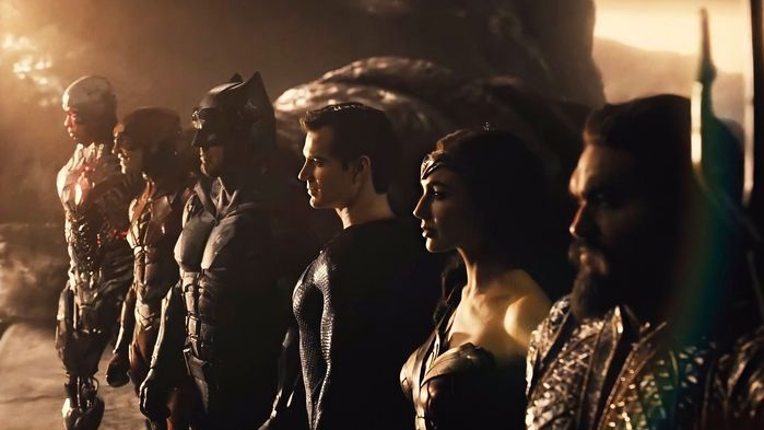 Cyborg, the Flash, Batman, Superman, Wonder Woman, and Aquaman as seen in Zack Snyder's Justice League.