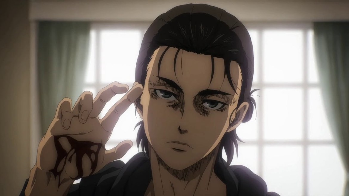 Eren Yeager, protagonist of Attack on Titan, holds out his hand, a cut gashed down the palm