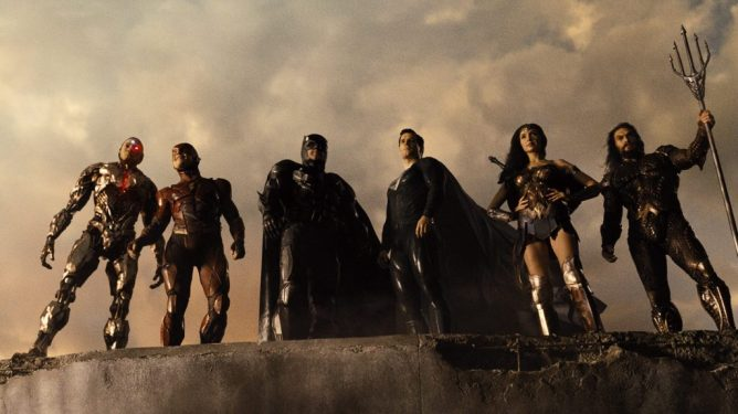 Cyborg, Flash, Batman, Superman, Wonder Woman, and Aquaman posing together as seen in Zack Snyder's Justice League with music by Junkie XL.