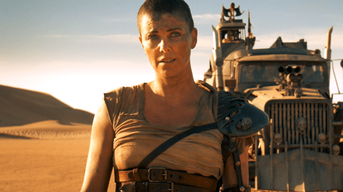 Charlize Theron as Furiosa in Mad Max: Fury Road with music by Junkie XL.