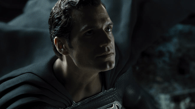 Henry Cavill as Superman in the new black suit as seen in Zack Snyder's Justice League.