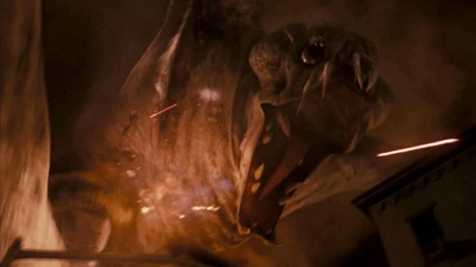 Clover the giant monster wrecks havoc on New York as seen in Cloverfield directed by Matt Reeves.