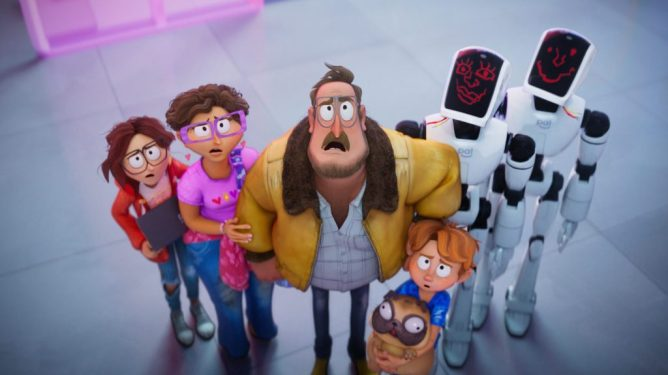The Mitchell family next to futuristic Siri-esque robot assistants as seen in The Mitchells vs. The Machines.