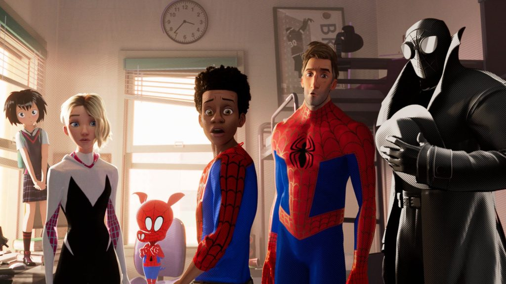 Penny, Spider-Gwen, Peter Porker, Miles Morales, Peter B Parker, and Spider-Man Noir in Into the Spider-verse, original music by Daniel Pemberton.