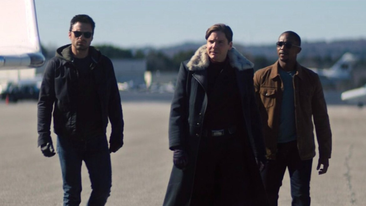 Bucky Barnes, Baron Zemo, and Sam Wilson walking together as seen in Episode 3 of The Falcon and the Winter Soldier.