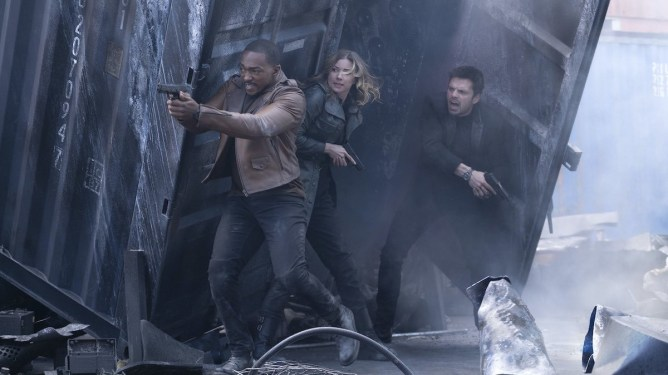 Sam Wilson, Bucky Barnes, and Agent 13 caught in bullet crossfire as seen in Episode 3 of The Falcon and the Winter Soldier.