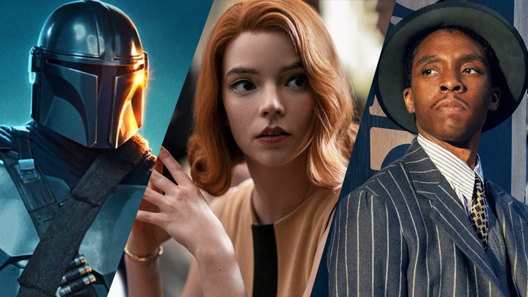 A collage of our SAG 2021 predictions featuring The Mandalorian, The Queen's Gambit, and Ma Rainey's Black Bottom.