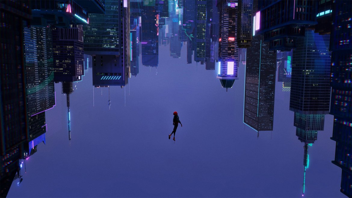 Miles Morales falling upside down in the What's Up Danger scene from Spider-Man: Into the Spider-Verse scored by Daniel Pemberton.