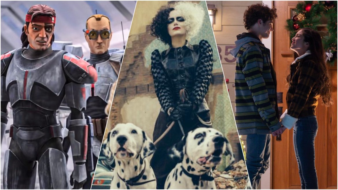 A collage featuring Star Wars: The Bad Batch, Cruella, and High School Musical the Musical season two, all coming to Disney+ in May 2021.