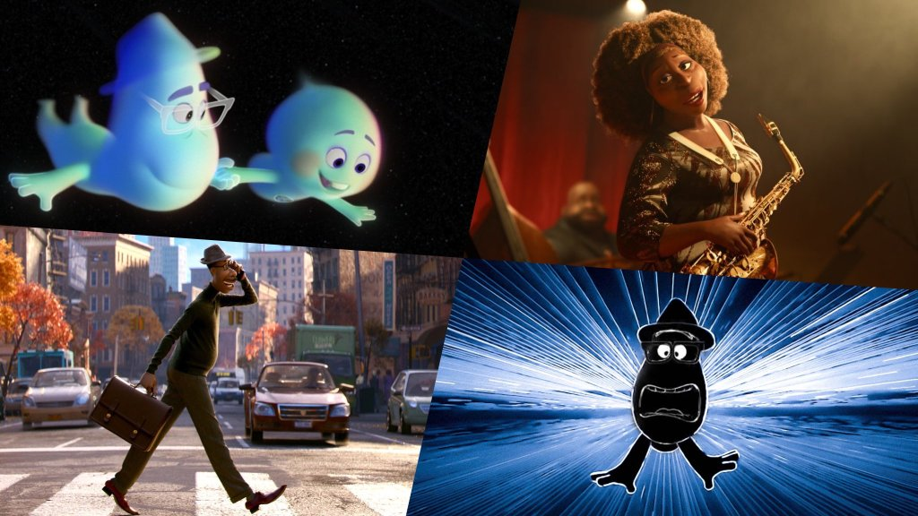 A collage of the beautiful animation seen in the Pixar film Soul directed by Pete Docter.