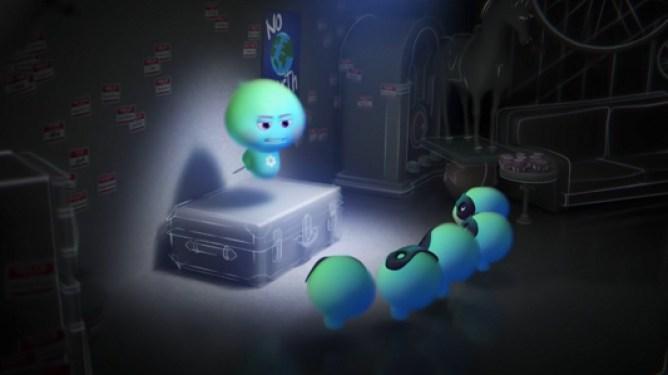 22 voiced by Tina Fey giving a lecture to her rebellious team of child souls as seen in the new Pixar Disney+ short 22 vs Earth.