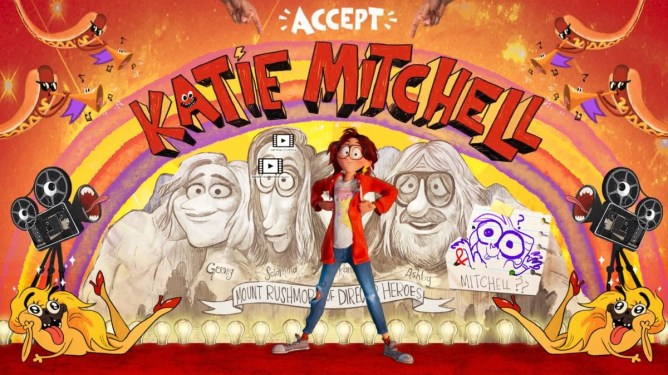 Katie Mitchell in a stunning art background showing her acceptance to film school as seen in The Mitchells vs. The Machines.