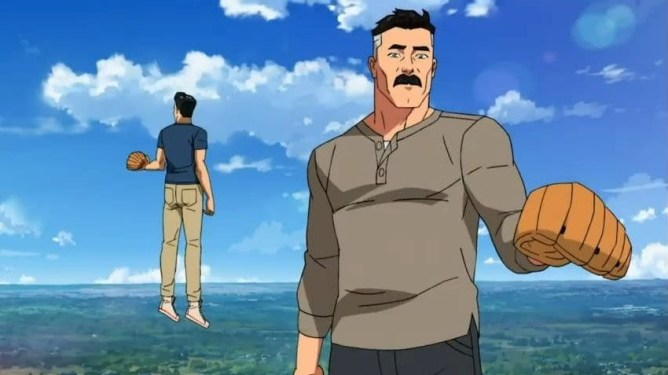 Invincible voiced by Steven Yeun and Omni-Man voiced by J.K. Simmons playing catch with baseball gloves in the sky as seen in the Amazon animated series Invincible.