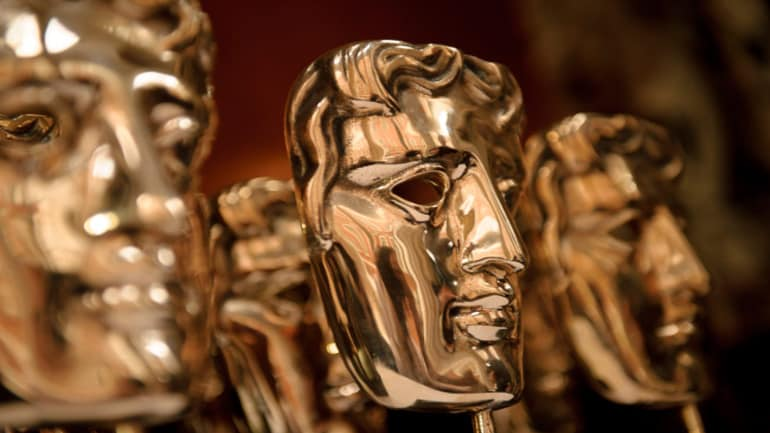 The famous golden masks handed out to the 2021 winners at the BAFTAs.