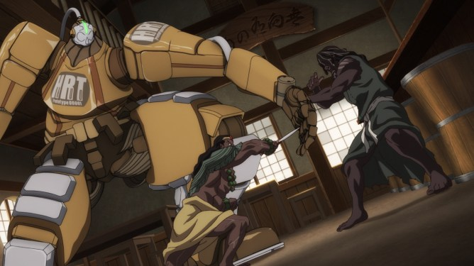 Yasuke voiced by LaKeith Stanfield fighting a mecha as seen in the Netflix anime series created by LeSean Thomas.