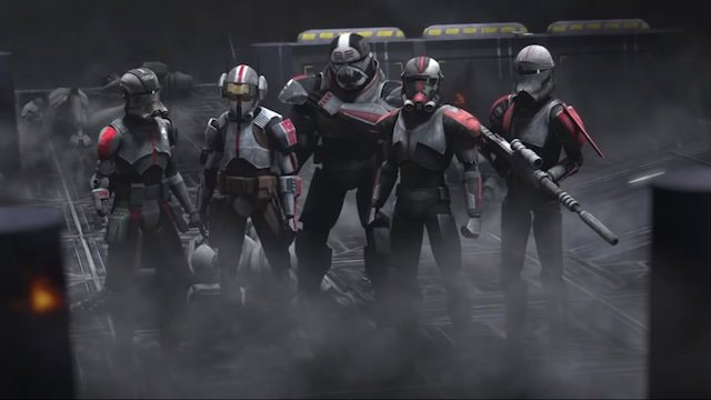 The main squad of clones as seen in episode 2 of Star Wars: The Bad Batch on Disney+.