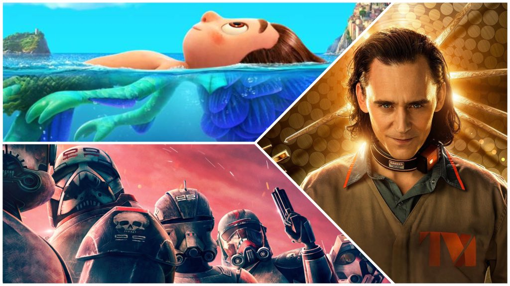 A collage of Pixar's Luca, Marvel's Loki, and Star Wars: The Bad Batch, all new to Disney+ in June 2021.
