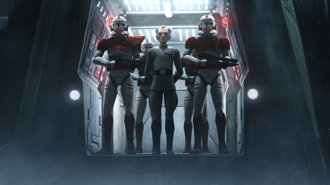 Admiral Tarkin as seen in the new Star Wars animated series The Bad Batch on Disney+.