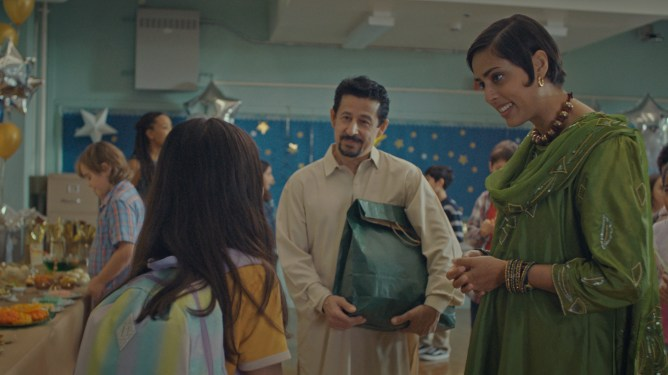 A Muslim family enter an American school as seen in the short American Eid part of the Disney Launchpad program.