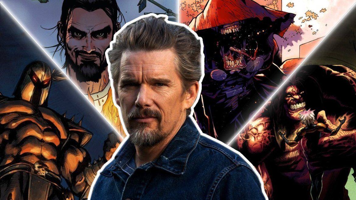 A collage of actor Ethan Hawke in front of all the potential Marvel villains he could be playing in Moon Knight on Disney+.