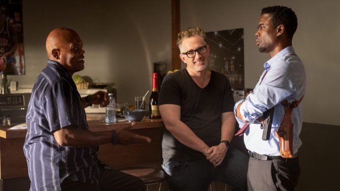 Samuel L. Jackson, director Darren Lynn Bousman, and Chris Rock together on the set of Spiral: From the Book of Saw.