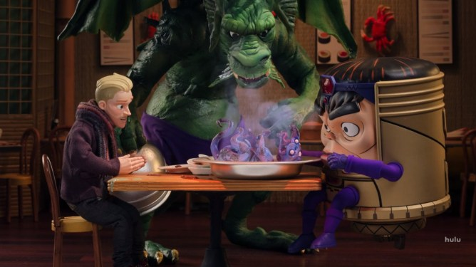 M.O.D.O.K. having exotic dinner at a restaurtn ran by the Marvel villain Fin Fang Foom as seen in the new Hulu series created by Jordan Blum