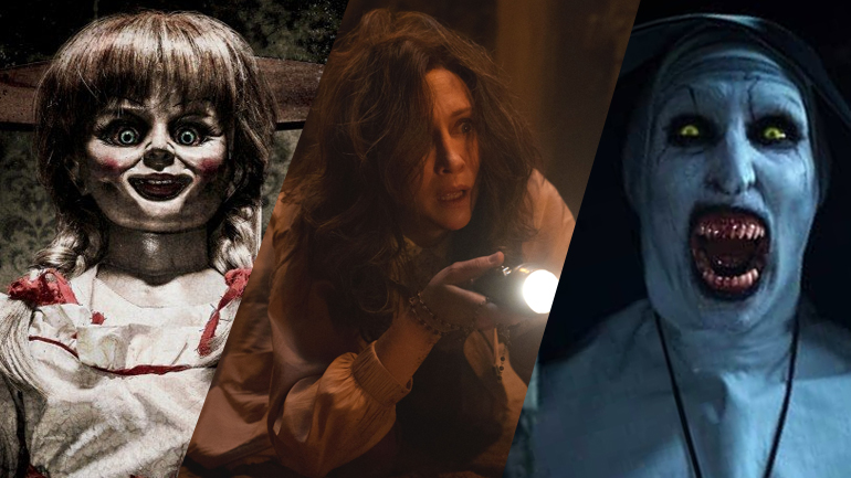 A collage of Annabelle, Lorraine Warren played by Vera Farmiga, and Valak the demon Nun as seen throughout the Conjuring Universe.