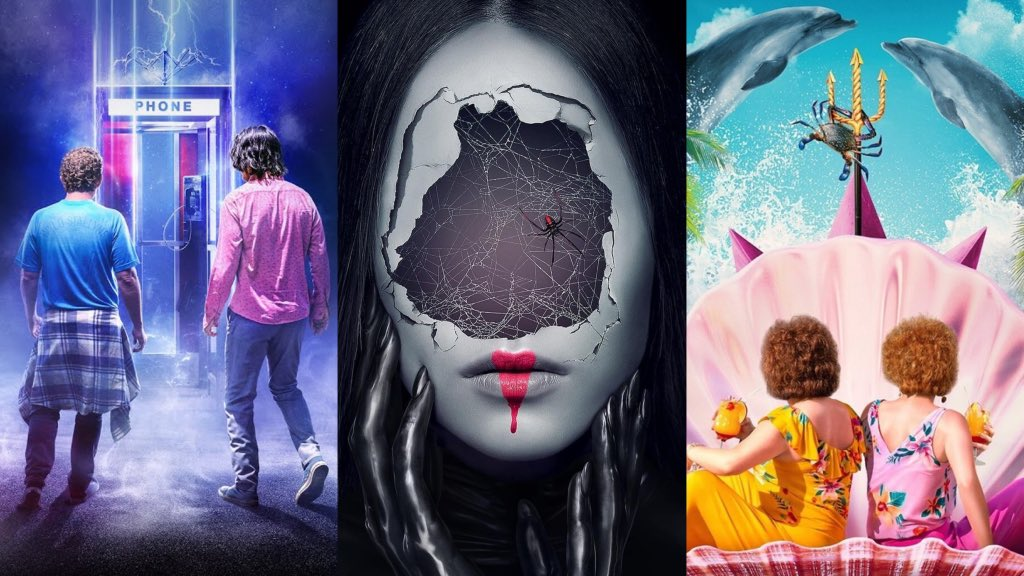 a collage of the posters from BILL & TED FACE THE MUSIC, AMERICAN HORROR STORIES, and BARB AND STAR GO TO VISTA DEL MAR, all coming to Hulu this July.
