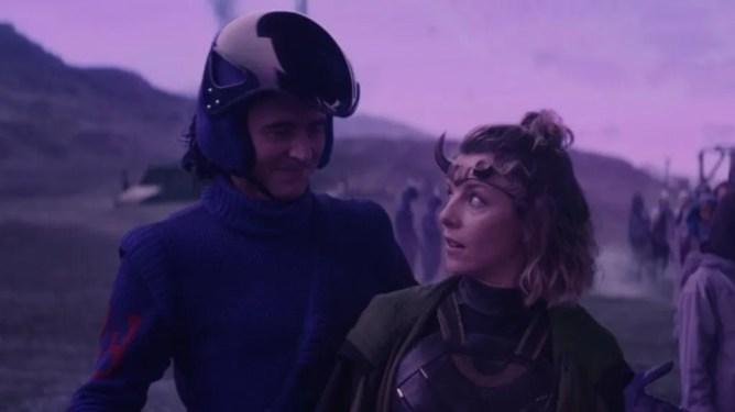 Tom Hiddleston as Loki and Sophia Di Martino as Lady Loki aka Sylvie on the doomed planet Lamentis-1 as seen in Episode 3 of LOKI.