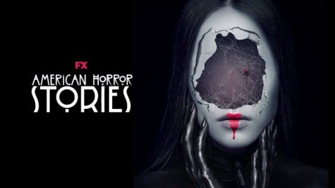 The poster from the new Ryan Murphy AHS spin-off AMERICAN HORROR STORIES showing a woman with a spider's web inside her broken face, coming to Hulu this July.