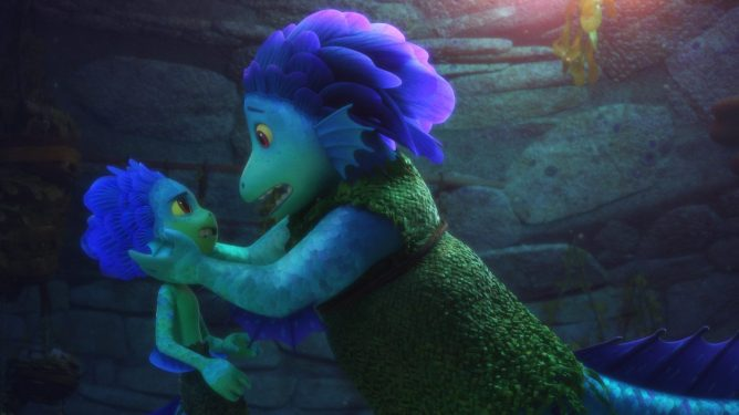 The kid sea monster Luca voiced by Jacob Tremblay with his monster mom voiced by Maya Rudolph as seen in the latest Pixar film coming to Disney+.