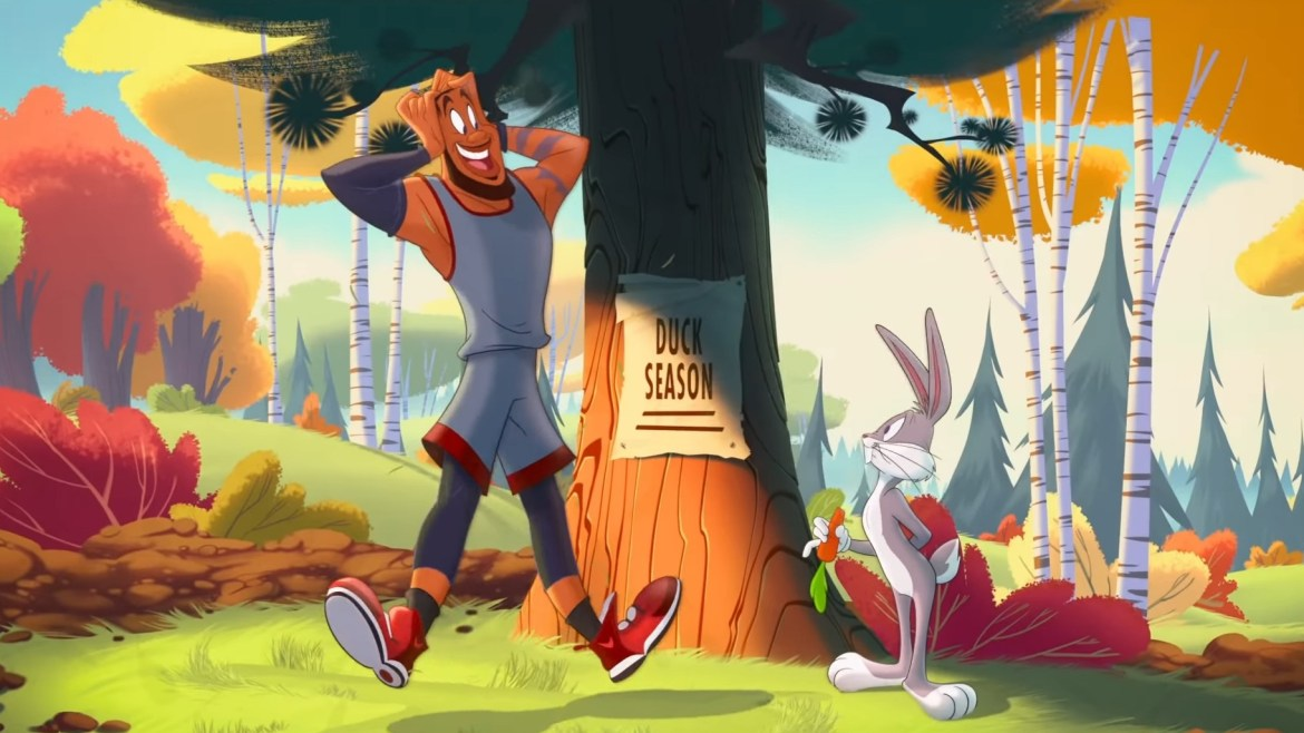 LeBron James meets Bugs Bunny in a cartoon forest as seen in Space Jam: A New Legacy, coming to HBO Max in July 2021.