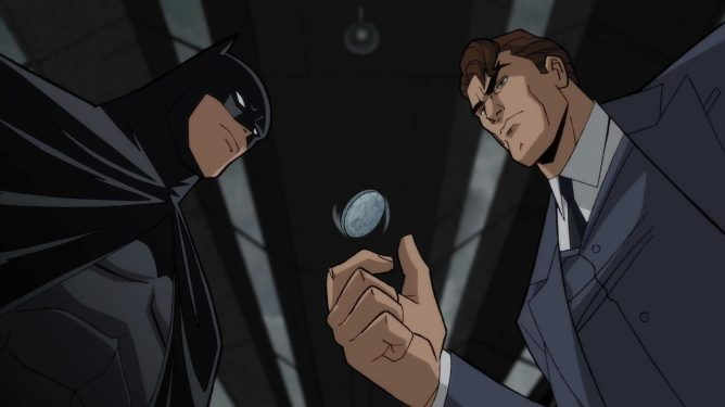 Batman voiced by Jensen Ackles and Harvey Dent voiced by Josh Duhamel as seen in the new DC animated film Batman: The Long Halloween, Part I