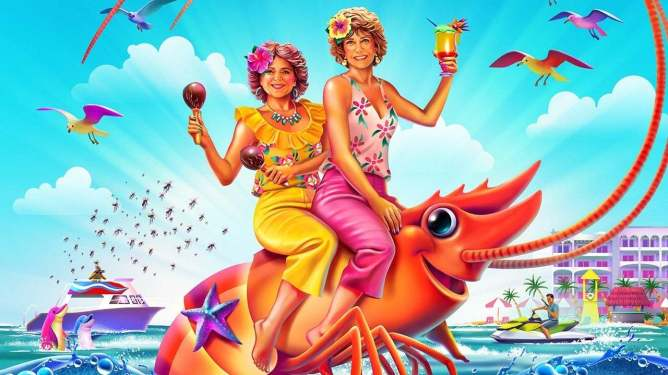 A painting of Barb and Star riding a giant shrimp at a sunny seaside resort from BARB AND STAR GO TO VISTA DEL MAR, coming to Hulu this July.
